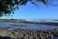 惠廷顿海滩公园在夏威夷的大岛 库存照片
