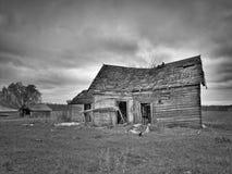 惨淡的被放弃的被毁坏的农厂房子的黑白图象在明尼苏达北部 库存图片