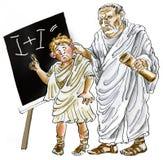 惩罚疏忽男小学生的古老罗马教师 免版税库存图片