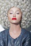 幻想。创造性。时髦妇女画象未来派奢侈巨大的假发的与辫子 免版税库存照片