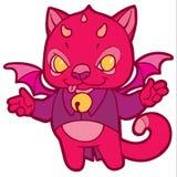 幻想与垫铁、翼和响铃的动画片小猫 免版税图库摄影