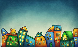 幻想五颜六色的房子 向量例证