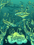 幻想例证蘑菇在禅宗乱画样式蓝色海洋登陆和绿色 免版税库存图片