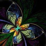 幻想分数维蝴蝶,花,花卉样式 免版税库存照片
