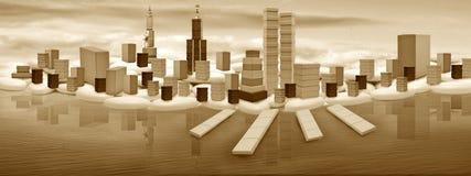 幻想城市世界 库存照片