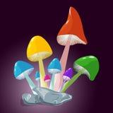 幻想彩虹蘑菇手图画 库存图片