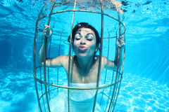 幻想新娘水下在鸟笼 库存图片