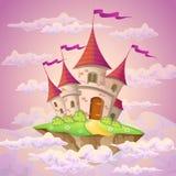 幻想有童话城堡的飞行海岛在云彩