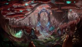 幻想森林背景 库存图片