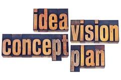 想法、视觉、概念和计划印刷术 库存照片
