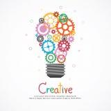 想法和创造性的齿轮电灯泡 免版税库存照片