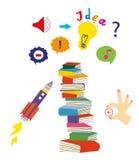 想法和教育设置了与书和想象力标志,图表例证 免版税库存图片