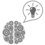想法和解答概念 与想法电灯泡的脑子 免版税图库摄影