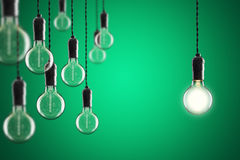 想法和领导概念葡萄酒白炽爱迪生电灯泡  图库摄影