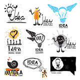想法商标 焕发疯狂的商标标志 与翼商标的电灯泡 免版税库存照片