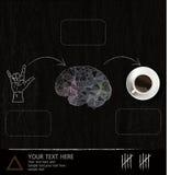 想法图脑子和咖啡杯在黑背景 免版税库存照片