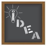 想法在黑板背景的传染媒介例证 免版税库存照片