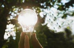 想法太阳能本质上,拿着电灯泡的手 库存图片