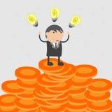 想法挣了金钱 企业传染媒介例证漫画人物摘要概念 图库摄影
