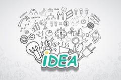想法文本,有创造性的图画图和图表企业成功战略计划想法,启发概念现代设计模板 免版税库存图片