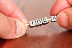 想法概念企业在书桌安置的商情报告书在prec 免版税库存图片