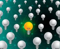 想法概念背景重复样式的电灯泡装饰 皇族释放例证