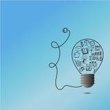 想法电灯泡乱画设计以图例解释者 免版税图库摄影
