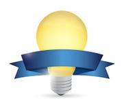 想法电灯泡和丝带例证设计 库存图片