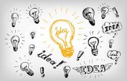 想法电灯泡商标概念 免版税库存图片