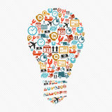 想法电灯泡,五颜六色的运输网象构成。 向量例证