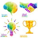 想法电灯泡,人脑,握手,成交,成功,杯子 免版税库存图片