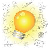想法电灯泡,创造性的解答 免版税库存图片