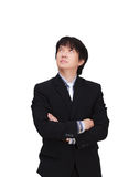 想法的亚洲商人,隔绝在白色背景 免版税库存照片