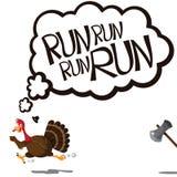 想法的和跑的动画片火鸡 免版税库存图片