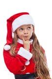 想法的圣诞老人-季节性成套装备的小女孩 免版税图库摄影