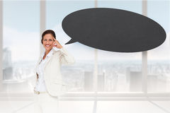 想法的女实业家的综合图象有讲话泡影的 库存图片