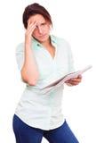 想法的妇女是沮丧的 免版税库存图片