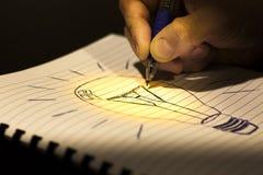 想法的概念:写一个电灯泡 免版税图库摄影