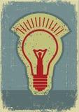 想法闪亮指示。电灯泡的Grunge符号 库存照片