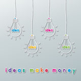 想法货币电灯泡 库存照片