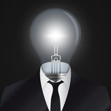 想法 有电灯泡标志的人头 向量 免版税库存照片