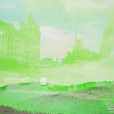 幻想生态摘要背景 与自然混合的都市风景在纸纹理 免版税图库摄影