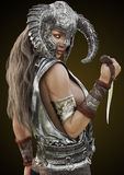 幻想胭脂战士女性摆在与盔甲和匕首在梯度背景 库存图片
