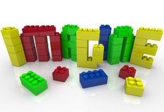 想象在玩具塑料块想法创造性的词 免版税库存图片