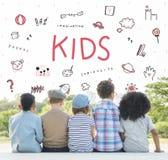 想象孩子自由教育象概念 免版税库存图片