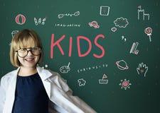 想象孩子自由教育象概念 免版税库存照片