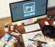 想象想法认为视觉梦想创造性的概念 库存图片