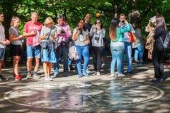 想象马赛克在草莓领域纪念对约翰・列侬在中央公园, NYC 免版税库存照片
