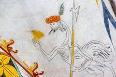 幻想驼鸟,与一个人头和戟,中世纪fre 库存图片