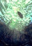 幻想水下的绘画 图库摄影